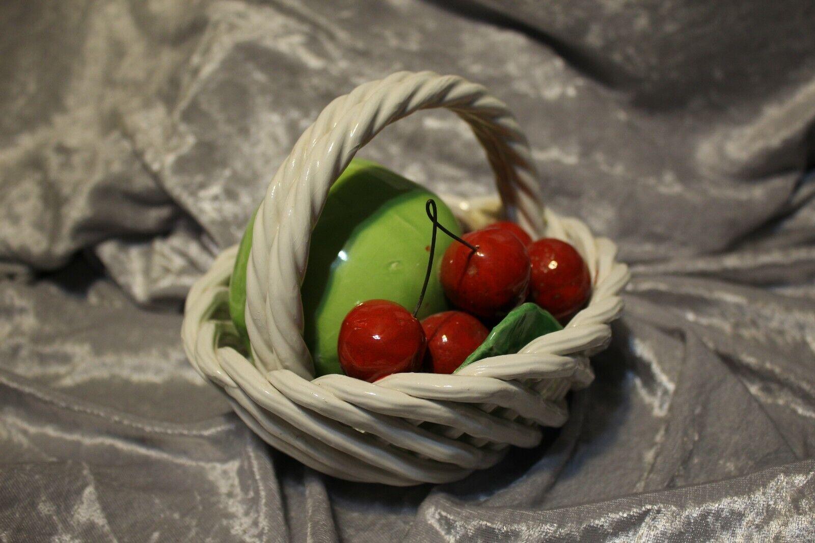 Vintage Majolica Fruit Basket Bowl Woven Ceramic Glazed Bassano Made In Italy  - $8.20