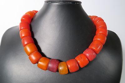 Alte böhmische Glasperlen 43cm Amber Imitation Old Bohemian Trade beads Afrozip