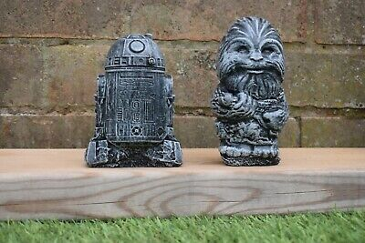 Star Wars R2-D2 & Chewbacca Reconstituted Stone Garden Ornaments-Free UK P&P