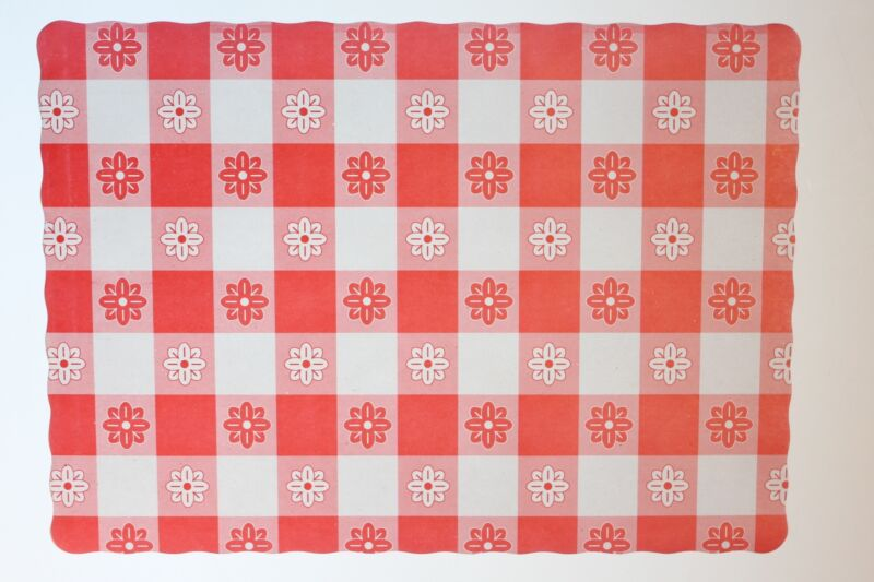 CASE OF 1,000 RED GINGHAM PAPER PLACEMATS FREE SHIPPING