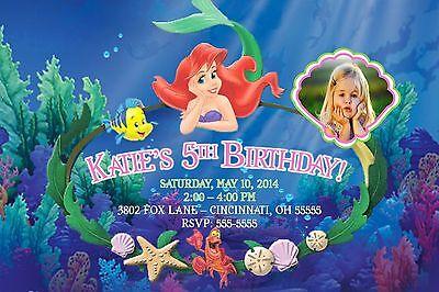 Little Mermaid Ariel Birthday Party Invitation Boy or Girl Any Colors Add Photo](Ariel Invitations)