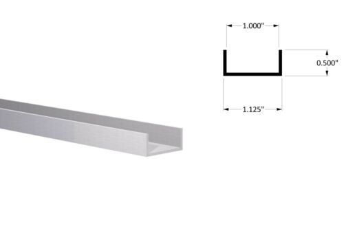 "Aluminum Channel: (1-1/8"" W x 1/2"" H x 1/16) Fits 1"" Clear Anodized 3 foot"
