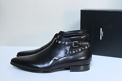 New sz 11.5 US / 44.5 SAINT LAURENT Black Leather Boxer Stud Ankle Boot MEN Shoe