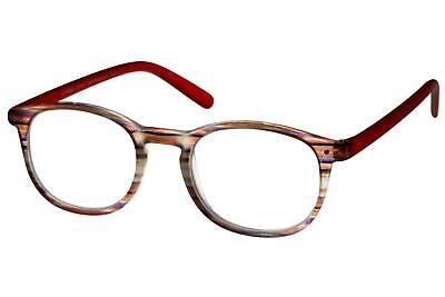 Lesebrille Damen Rot Orange Bunt gestreift runde ovale Gläser