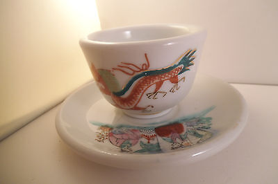 Vintage Asian Style Dragon Chinese Cup & Saucer Figural