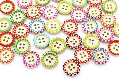 Plaid Edge Wooden Buttons Raised Edge DIY Four Holes BOHO Hippie Wood 15mm 20pcs