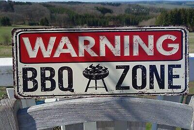 Shabby Blechschild Wandbild Warning BBQ Grill Zone Retro Antik Stil 20x50 cm NEU