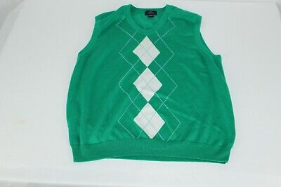 Brooks Brothers M Medium 346 Mens Green Argyle Sweater Vest