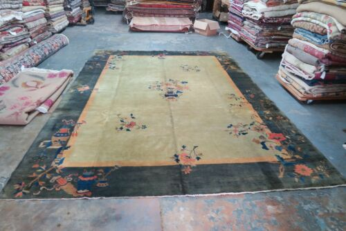 Antique Chinese Art Deco Rug Hand Knotted Wool Nichols Ornamental 8