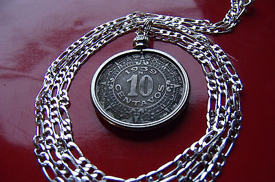 "pre 1946 Mexico Aztec Calendar Coin Pendant on a 30"" 925 Sterling Silver Chain"