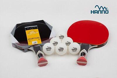 2 HANNO Tischtennisschläger + 6 Bälle im Set mit ITTF