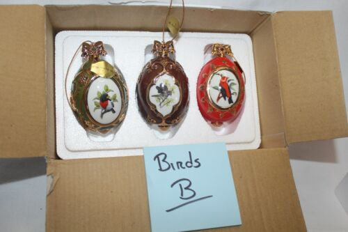 (B) Danbury Mint Birds of Splendor Set of 3 Ornaments bird watching birding