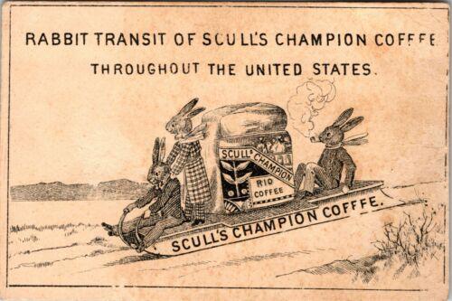 Vintage Sculls Coffee Anthropomorphic Rabbit Family Antique Trade Card (Rare)
