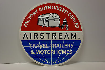 """AIRSTREAM FACTORY AUTHORIZED DEALER DIE CUT Sign Rare LATE 70's 80's ENAMEL 18"""""""