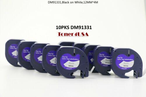 10 PK LT 91331 Plastic Letratag Refill Fit For Dymo Label Maker Tape 12mm White