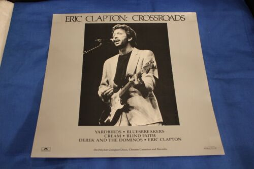 "Eric Clapton 1988 Crossroads Original 12"" x 12"" Silver Promo Poster 2-sided"