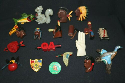 20 Amazing 1950s Boy Scout Neckerchief Slides~Most Hand Carved & Painted~