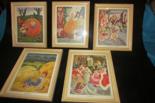 Set of 5 Vintage Gustaf Tenggren Framed Nursery Tale Prints Mother Goose 1940