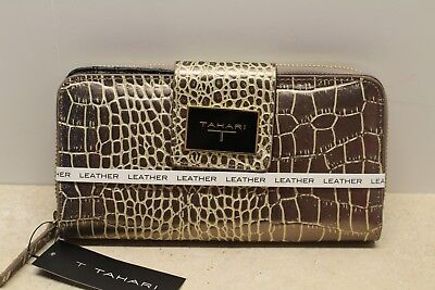 TAHARI  Bronze Croco Genuine Leather Clutch Wallet Snap and Zippered areas NWT