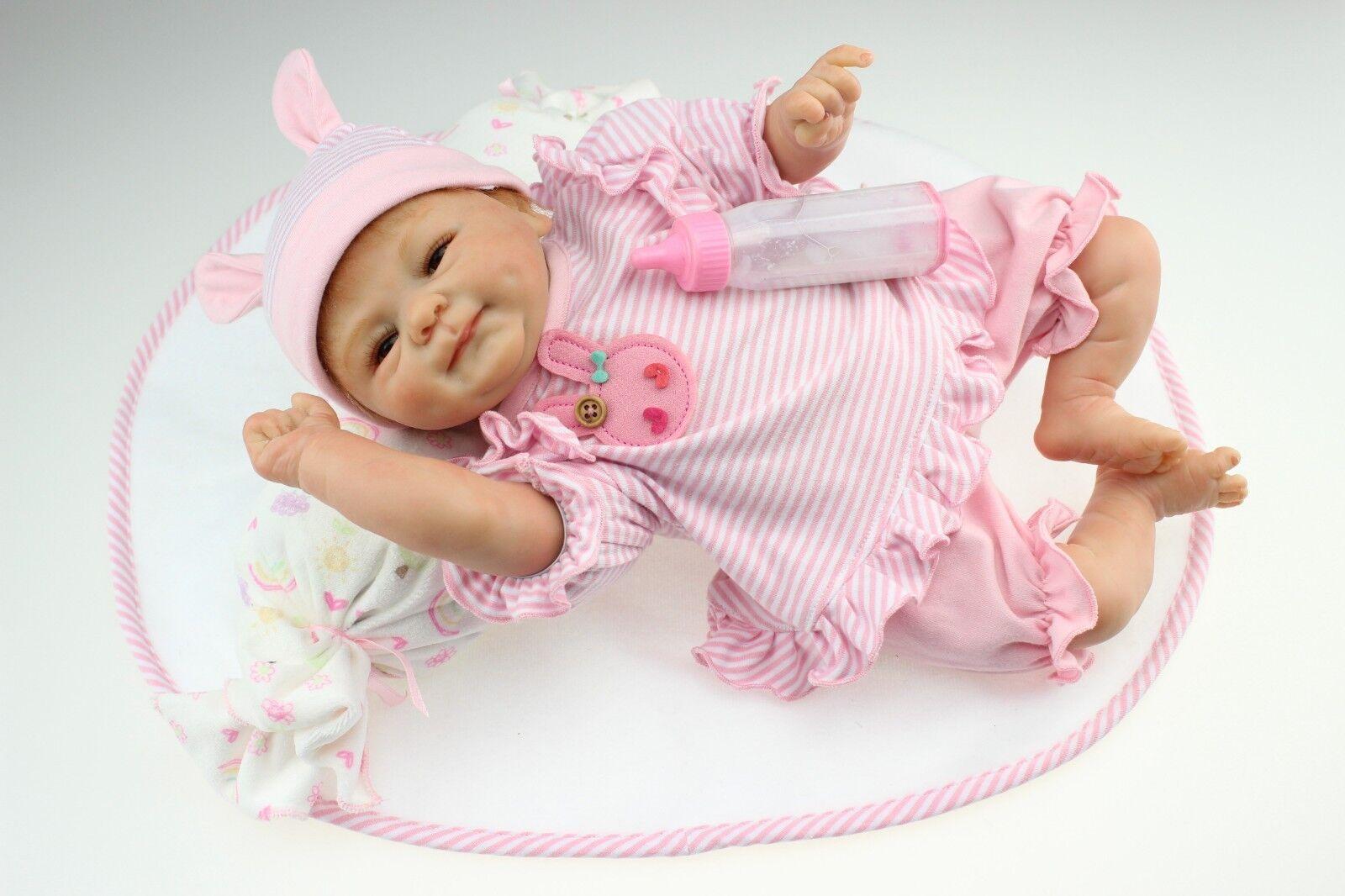 18''45cm Lovely Lifelike Reborn Baby Doll Silicone Vinyl Newborn Girl Xmas Gift