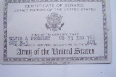 ELVIS PRESLEY ARMED FORCES CERTIFICATE 1958-1960 SIGNED EPE NOVELTY