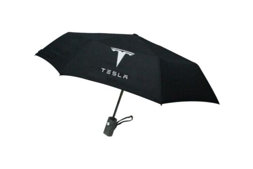 Automatic Folding Black Umbrella Rain Quality windproof UV Fit For TESLA Model