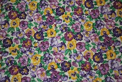 Vintage Craft VIP Fabric Cranston Print Pansies Floral Cotton 4.75 Yards