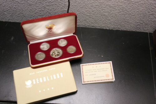 South Korea 1988 Seoul Olympic Proof Set, 5 Coin Set, Gem Cameo, Case/COA