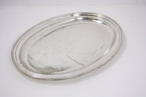 "#1 Ritz Carlton Silver Plate Restaurant Hotel 17"" Oval Serving Tray Antique Vtg"