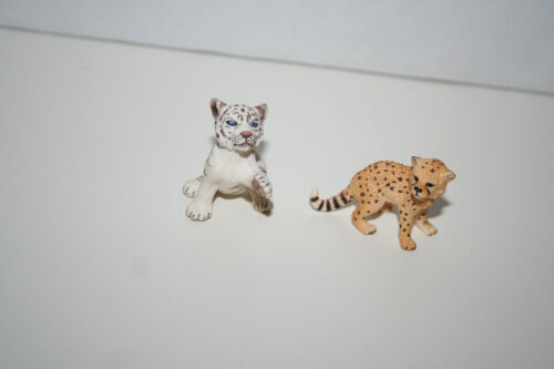Schleich Cheetah And White Tiger Cub Figure Lot