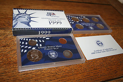 1999 US Coin Proof Set Kennedy Half Dollar State Quarters 9 Coin Free Ship -