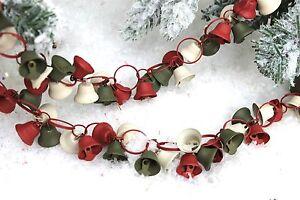 GISELA GRAHAM CHRISTMAS RED GREEN WHITE  MINI JINGLE BELL GARLAND CHAIN BUNTING