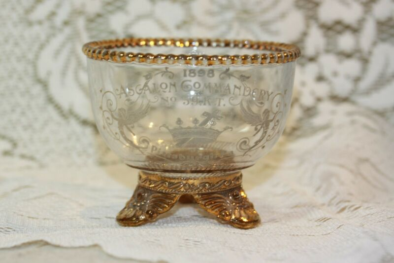 MASONIC Glass Bowl Engraved 1898 Ascalon Commandery No. 59 Pittsburgh KT