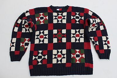 Vintage Men's Tommy Hilfiger Multi Colored Quilt Style Cotton Sweater XL Rare (Tommy Hilfiger Quilts)