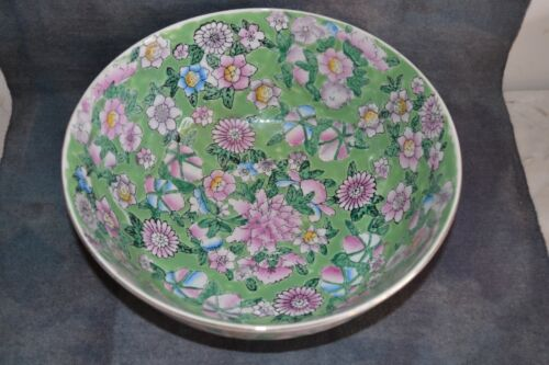EARLY 1900s ANTIQUE HAND PAINTED PORCELAIN BOWL - FLORAL - CHINA, MACAU STUNNING