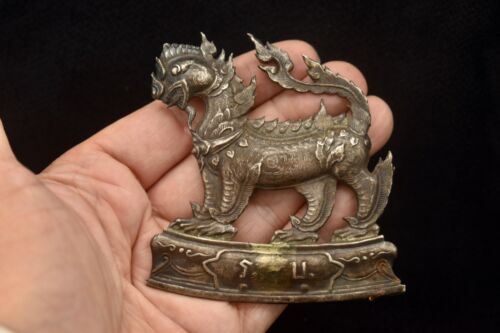 Antique / Vintage Thai Silver Lion Badge / Medal with Back Pin