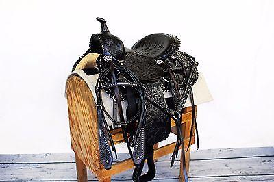 "15"" BLACK SILVER WESTERN LEATHER HORSE SADDLE BRIDLE BREASTCOLLAR PAD TACK SET"