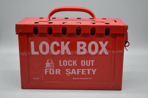 "Brady 13 Lock Portable Metal Lock Box 6"" x 9"" x 3.5"" Safety Lockout PKL304, Used"