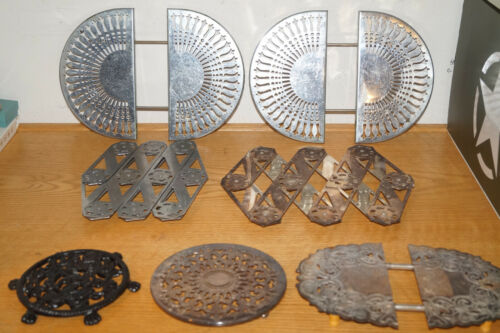 VINTAGE LOT OF 7 EXPANDABLE ADJUSTABLE SILVER PLATED TRIVETS