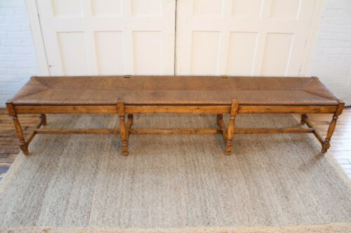 Vintage French Country Wood & Rush Seat Bench 8