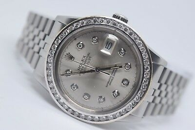 Rolex mens Diamond Dial diamond  Bezel 36mm Datejust Swiss  automatic watch