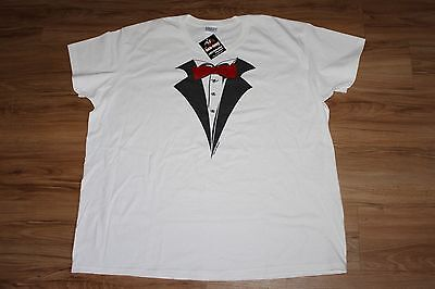 Mens White Tuxedo Shirt (Tuxedo T-shirt White RED Tie MENS XXL 2XL-NEW 100% Pre-Shrunk Cotton)