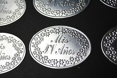 12 X TAGS SILVER TIN TAGS ETIQUETAS PLATA MIS QUINCE EMBOSSED XV DIY DECORATION