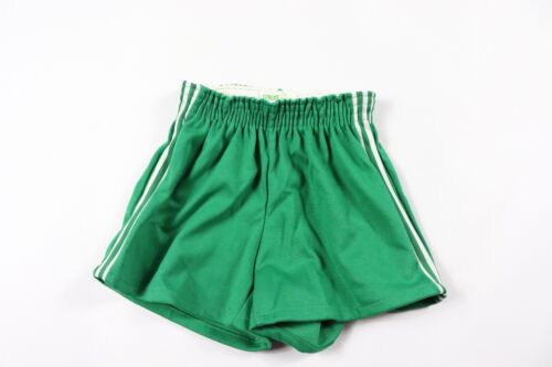 Vintage 70s New Pele Youth Large Striped 50/50 Gym Soccer Shorts Green White