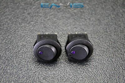 2 Pcs Round Rocker Switch 34 Hole 16 Amp 12v 3 Pin Purple Led Toggle Ibrrsp