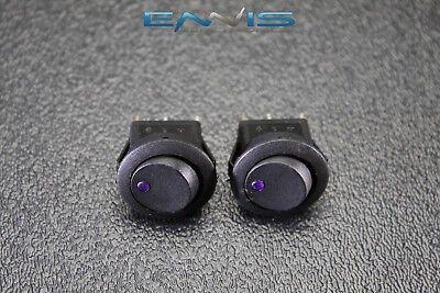 2 Pcs Round Rocker Switch 34 Hole 16 Amp 12v 3 Pin Purple Led Toggle Ibrrsp