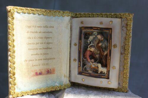 Vintage Small Christmas Nativity Scene in Velvet Covers Book under Christmas Tre