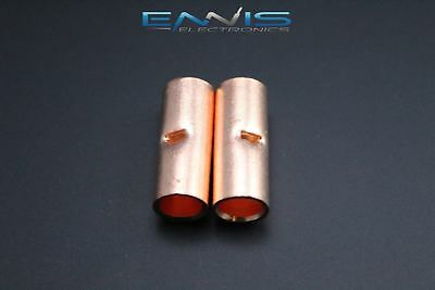 2 Gauge Copper Butt Connector 2 Pk Crimp Terminal Awg Battery Splice Cur2