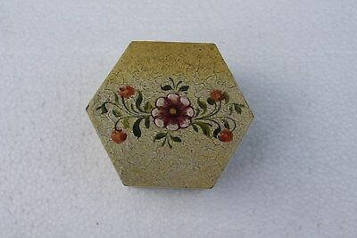 Authentic Peruvian Hand Painted Wooden Trinket Box with Hinged Lid Hexagon Shape