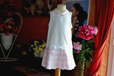 Robe baby dior  18 mois rose blanc plis en bas petit col dior